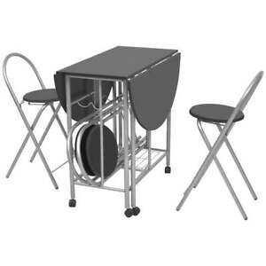 Details zu Klappbar Esstisch Küchentisch Frühstückstisch Bartisch mit 4  Stühlen MDF Schwarz