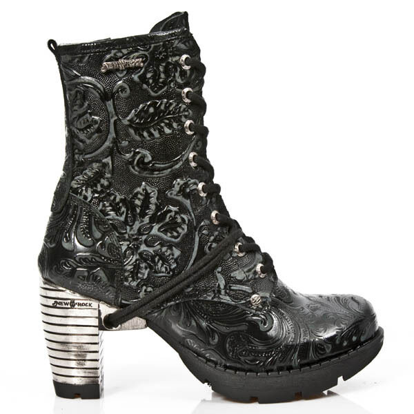 Grandes zapatos con descuento NewRock NEW ROCK TR001 S24 Vintage Flower Back Gothic Punk Ladies Ankle Boots