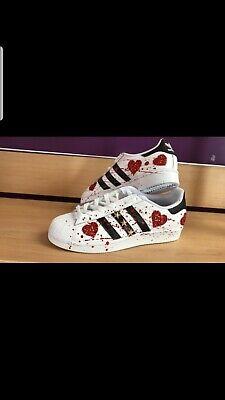 scarpe adidas superstar personalizzate con glitter rosso e schizzi rossi | eBay
