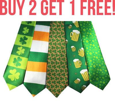 Men St Patrick/'s Day Tie Souvenir Flag Tricolour Shamrock Irish Ireland Event