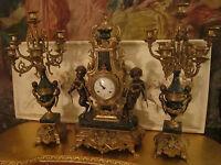 3pc set  French Neoclassical Figural Putti Bronze ash-gray Marble Mantel Clock