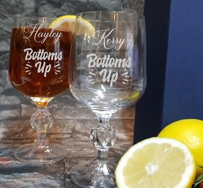 "Personalised Engraved Stemless wine Glass /""Bottoms Up/"" SWG72"