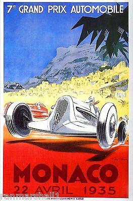1952 Monaco French Grand Prix Art Automobile Race Advertisement Vintage Poster