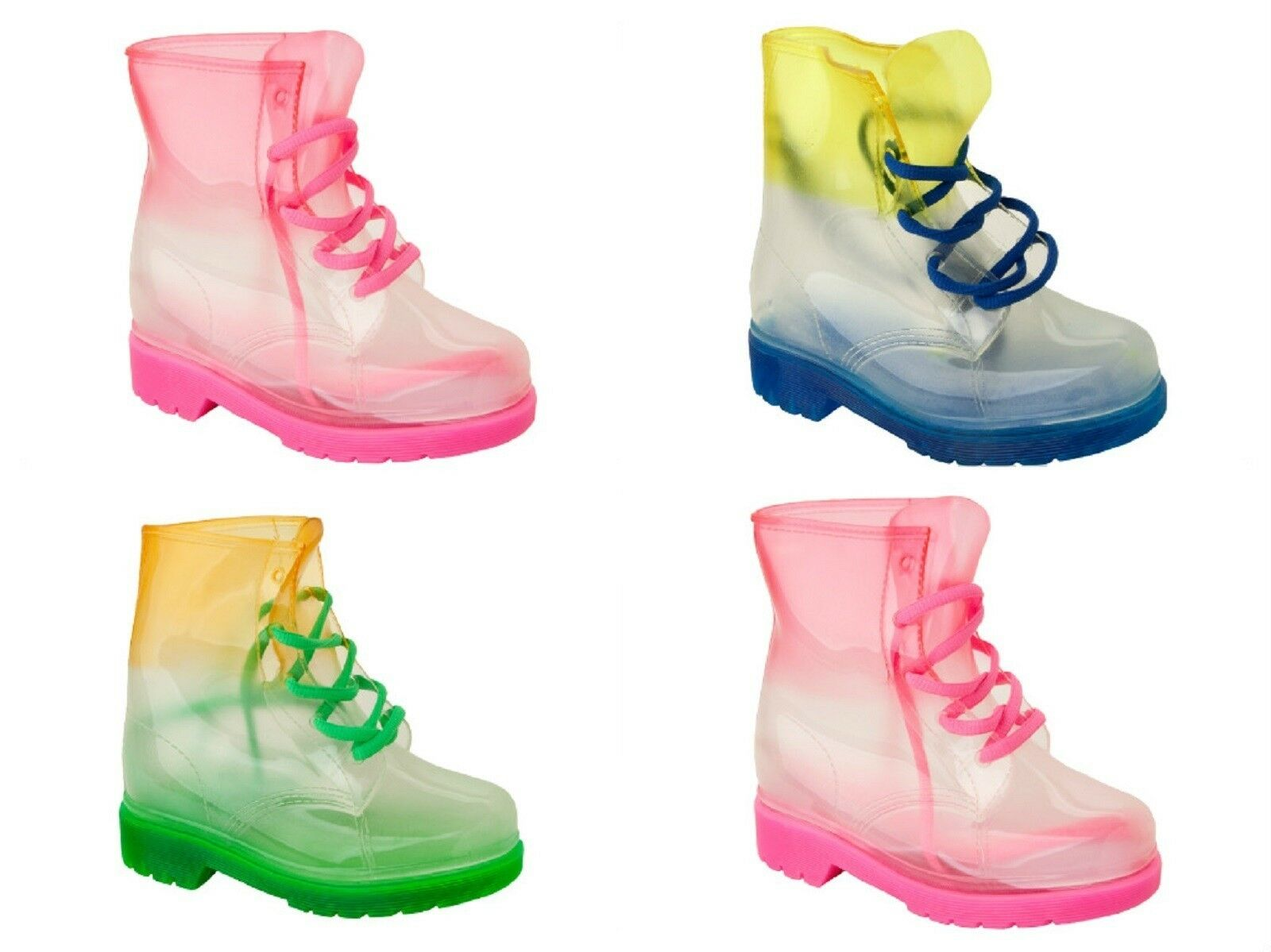 Girls Spot On Gradiant Transparent Lace Up Welly Boot