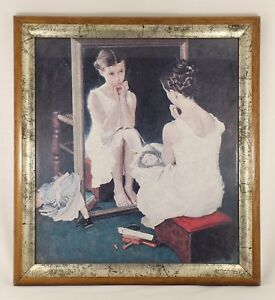 Vintage-Norman-Rockwell-Girl-At-The-Mirror-Framed-Painting-Print-Art-Americana