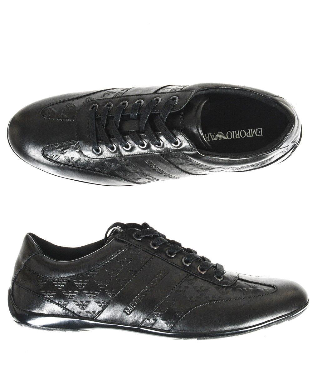 EMPORIO ARMANI Scarpe scarpe da ginnastica Leather man nero X4C475XL195 K001 Nuovo con etichette