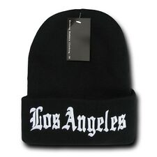 """Black & White Los Angeles LA Embroidery 12"""" Long Cuffed Vintage Beanie Beanies"""