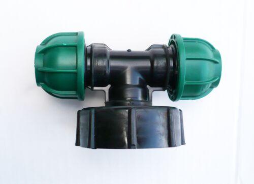 """2 /""""s60x6 Grueso hilo de 20 mm Doble MdPE de compresión de montaje IBC Adaptador"""