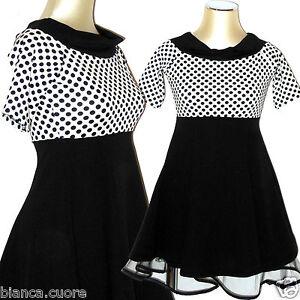 separation shoes b2420 3bbbc Dettagli su Vestito donna palloncino tulle abito a pois bianco nero  miniabito elegante D0539