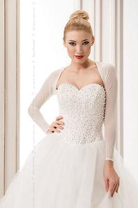 NEW-Womens-Bridal-Ivory-White-Tulle-Bolero-Shrug-Wedding-Jacket-S-M-L-XL