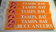 """Lot of 5 - 1970's Tampa Bay Bucaneers 4"""" X 14"""" Bumper Stickers Vintage Old Logo"""