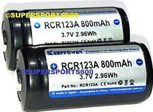 2x KEEPPOWER 16340 RCR123 PROTECTED  3.7V rechargeable Lithium ion Batteries 800