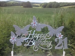 Silver-BUTTERFLY-Swirly-Birthday-Cake-Decoration-Glitter-Topper-Arch