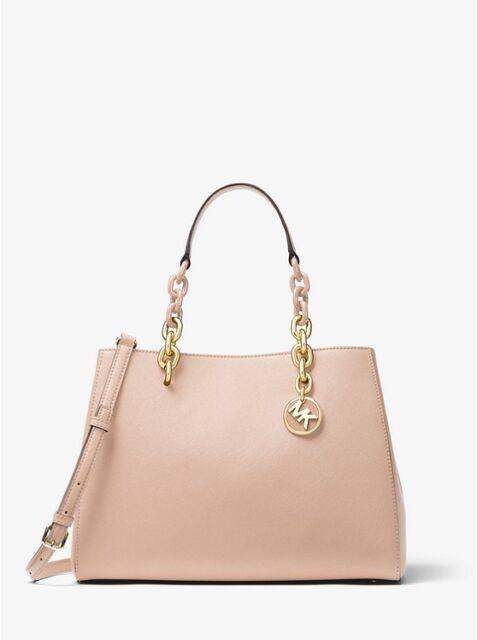 72ca7b677ddad Michael Kors Cynthia Medium Leather Satchel Bag Blush 100 Authentic ...