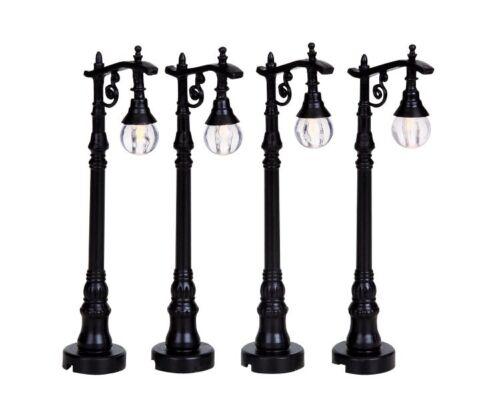 Weihnachtsdorf Lemax Beleuchtung 94993 Modellbau Antique Street Lamps Set//4