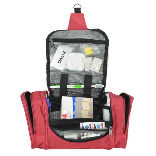 19ba0cca0a08 DALIX Travel Toiletry Kit Accessories Bag in Red