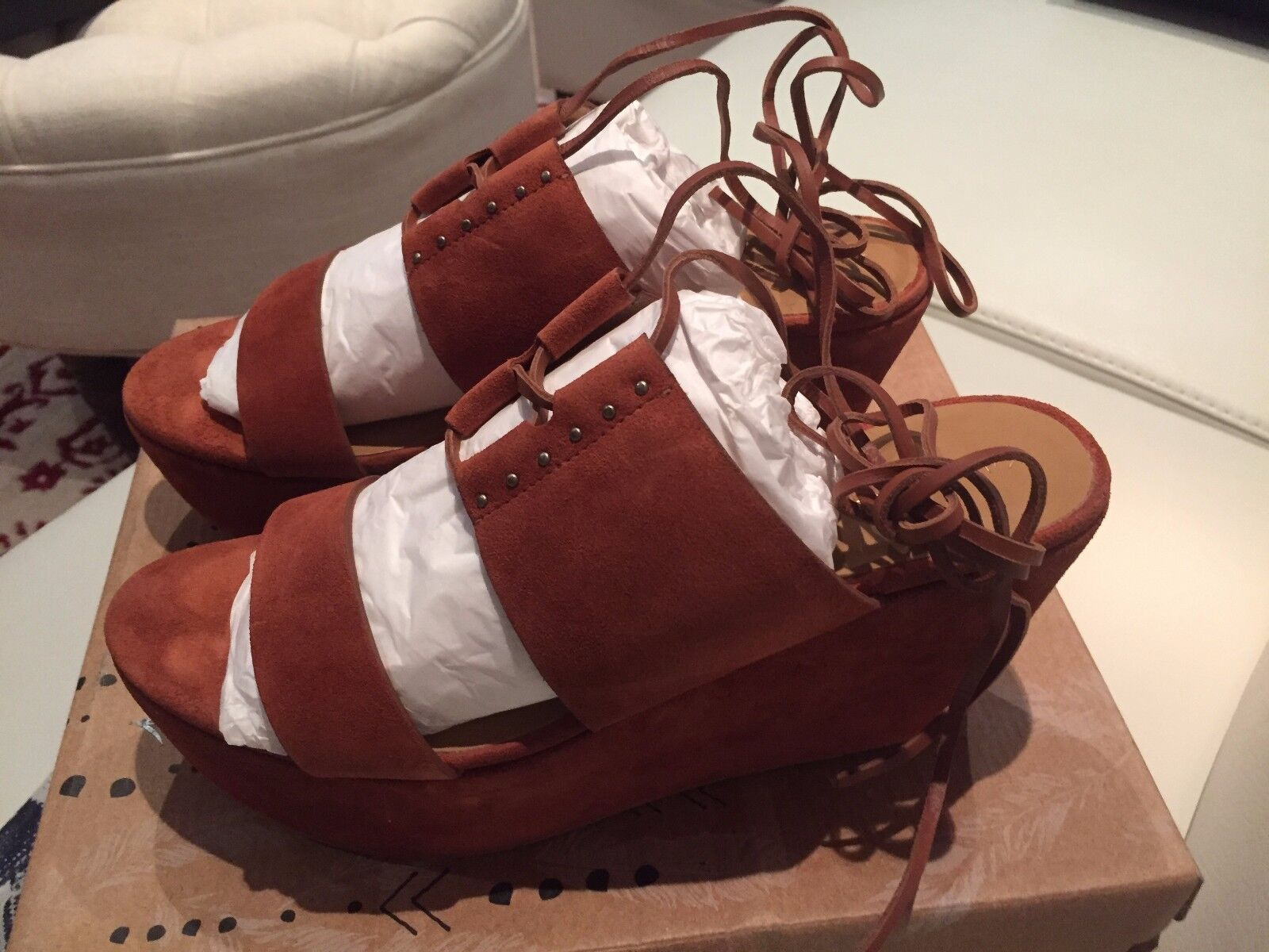 FREE PEOPLE BRAND NEW TERRACOTTA WRAP WEDGE SANDALS SIZE 10