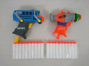 2 Nerf Fortnite Micro Shots Gun Blaster Bundle Micro RL & Battle Bus 20 Bullets