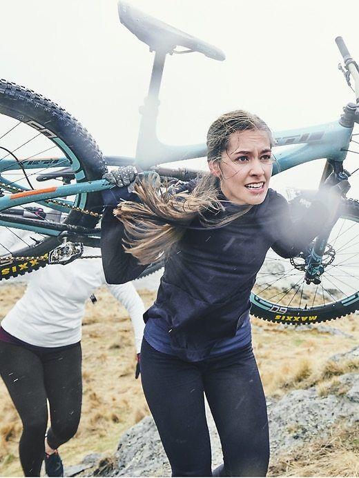 Athleta MP M Petite Navy Primaloft Soft Fleece Lined Alpine Valley Running Pants