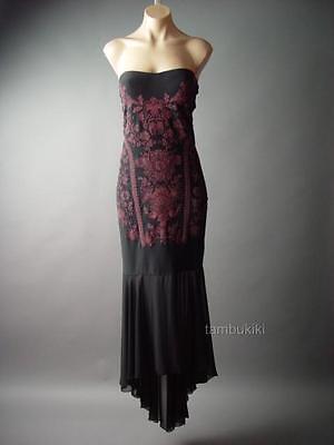 Black Red Exotic Asian Bead Design Mermaid Evening Gown 103 mv Dress 1XL 2XL 3XL