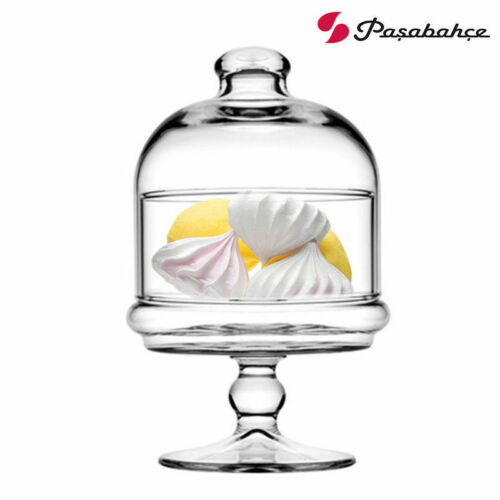 Pasabahce mini pattiserie en pie con campana de cristal adueñado gebäckständer