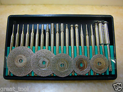 25 pieces of Diamond coated rotary burrs points & cutting wheel blade disc set