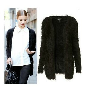 Europe-New-Fashion-Retro-Vintage-Black-Hairy-Mohair-Sweater-Cardigan-Tops-S-M
