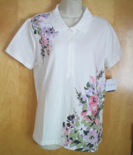 NWT NEW womens white lavender pink olive green floral watercolor s//s polo shirt