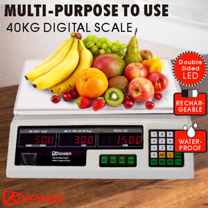 40KG Digital Kitchen Scale Electronic Scales Shop Market White LED