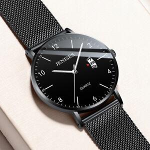 Luxury-Men-039-s-Analog-Date-Slim-Mesh-Stainless-Steel-Dress-Wrist-Watch-Waterproof