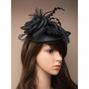 a12835a2 Image is loading Large-Black-Net-amp-Hessian-Feathers-Fascinator-Hatinator-