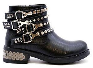 bbe051f022f89 Details zu Damen Flach Niedriger Absatz Biker Punk mit Nieten Stiefeletten  Schuhe Size 3 4