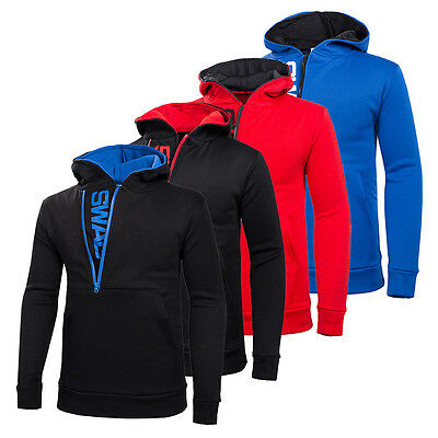 Men's Slim Warm Hooded Sweatshirt Zipper Coat Jacket Outwear Black/Blue/Red