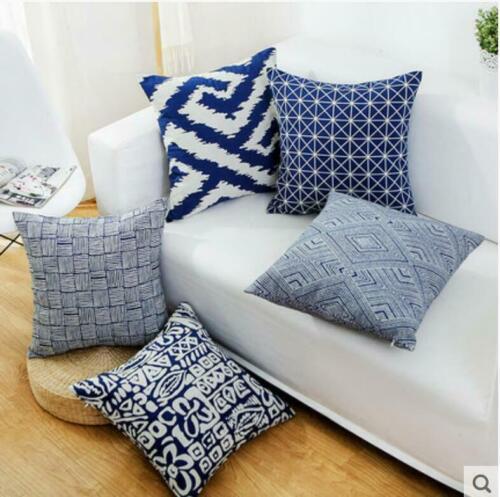 Dark Blue Geometric Patterns For Sofa Car Waist Pillowcase Cushion Case