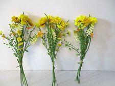 3x Artificial Yellow Pansy Wild Flower Bundle - Spring/Summer Fake Flower Bundle