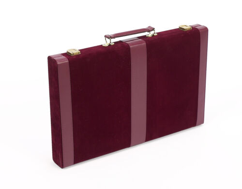 """Designer Backgammon Set With 2 Dice Cups Dice Doubling Cube Maroon Size 18/"""""""