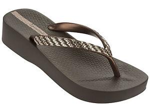 Ipanema-Bride-D-039-Orteil-prisonniers-Flops-Mesh-nappes-Fem-Marron-Or-Bronze-NEUF
