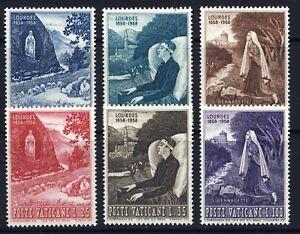 VATICAN-1958-Shrine-at-Lourdes-233-238-Mint-Never-Hinged