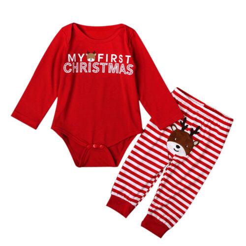 MY First Christmas Newborn Baby Girls Boys Deer Romper Bodysuit Outfits+Pants