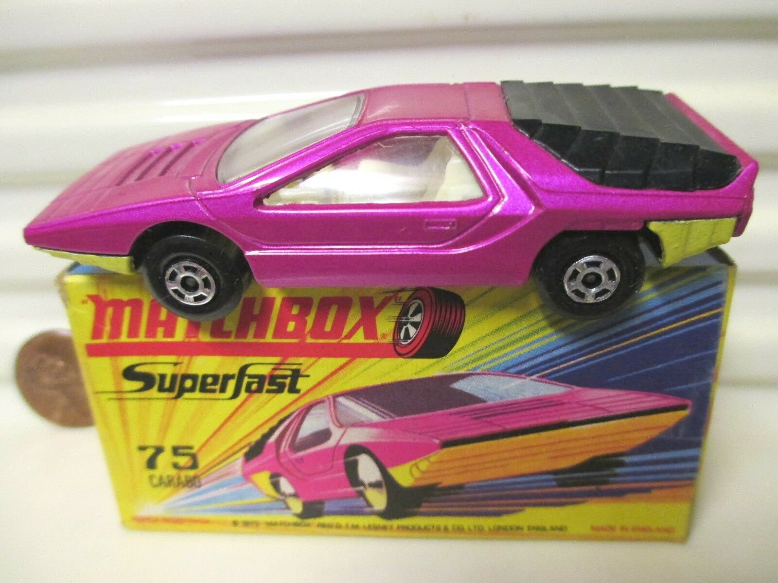Lesney matchbox 1970 mb75b Rosa alfa carabo auto gelb basis mint in mint - bx