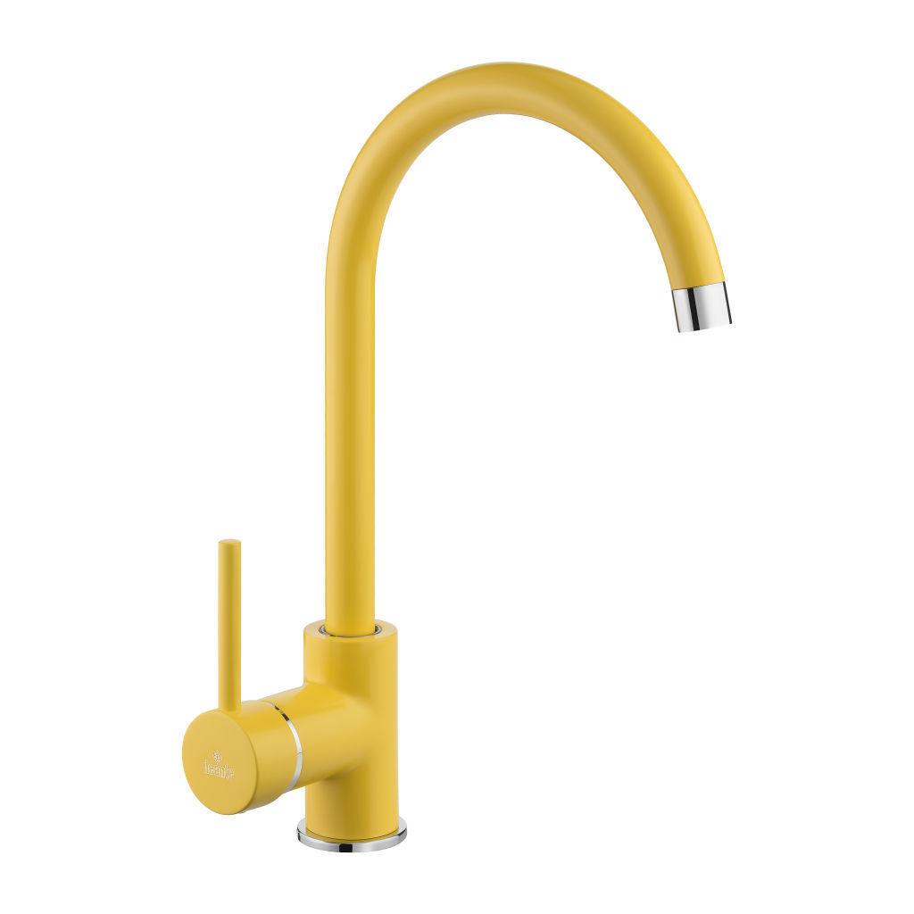 Design Einhandmischer Armatur U-Auslauf Küchenarmatur Spültischbatterie Gelb Neu