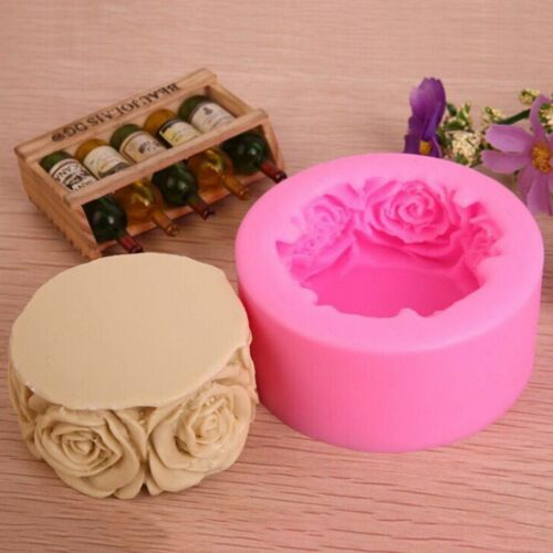Round Rose Flowers Silicone Soap Mold Candle Molds Mould For Candy Craft DIY
