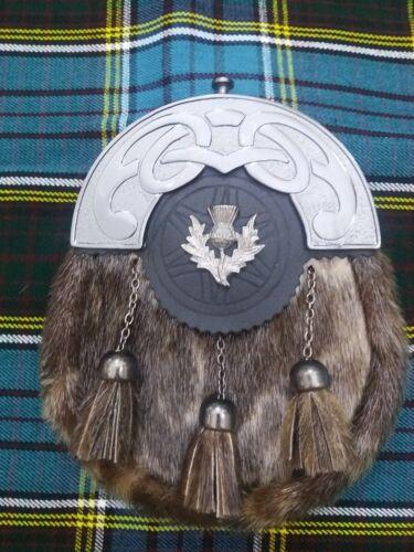 Men/'s Scottish Kilt Sporran peau de phoque divers badge Celtique Cantel finition antique