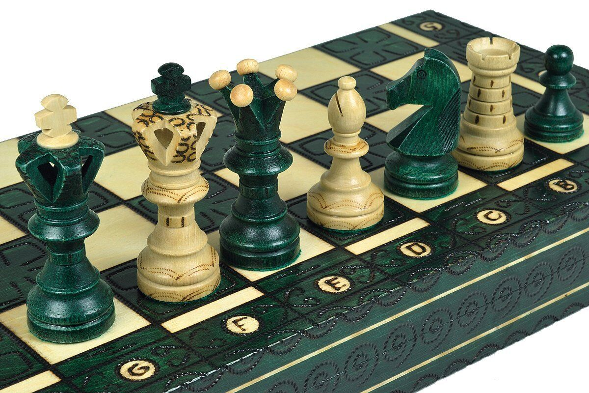 XL ROYAL HANDCRAFTED WOODEN CHESS MAPLE WOOD- verde