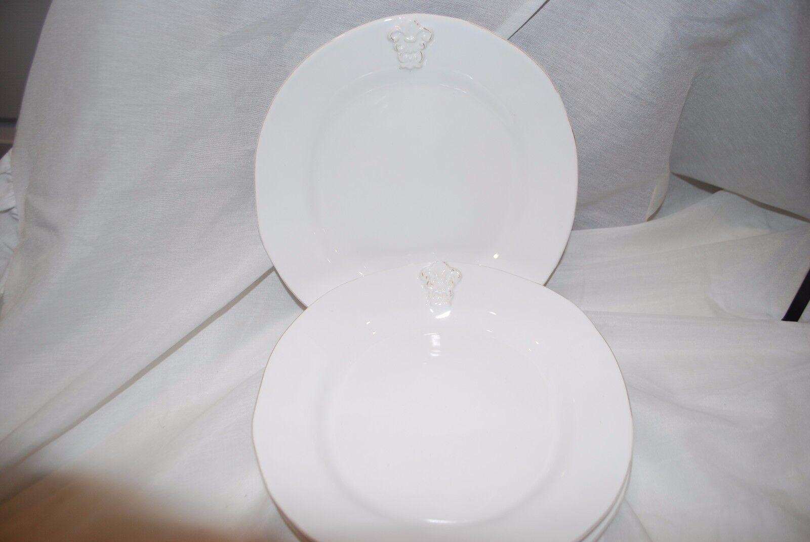 Nouveau ARTIMINO MEDICI FLEUR DE LIS 9  Salade Déjeuner Plaques Blanc antique faience