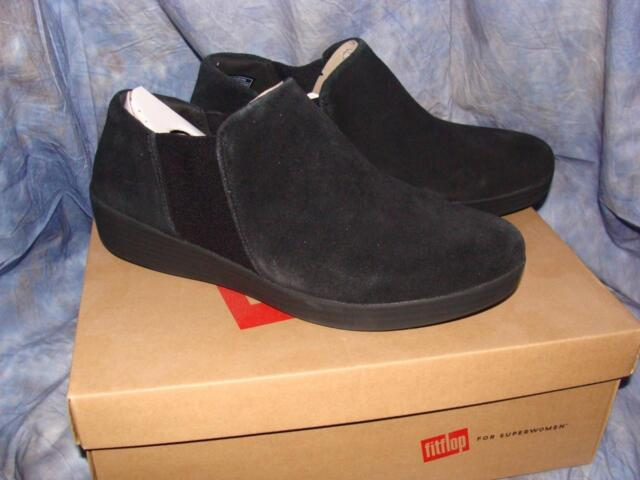 4492cfb22e NEW W BOX WOMENS FITFLOP SIZE 10 SUPERCHELSEA SLIP ONS BLACK SUEDE~FREE US