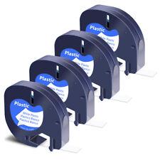 4pk Black On White Refill Plastic Label For Dymo Letratag Lt100h 91331 Tape 12mm