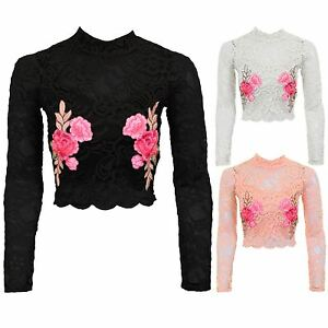 b21da4c1bad Ladies Long Sleeve Lace Scallop Hem Lined Floral Embroidery High ...