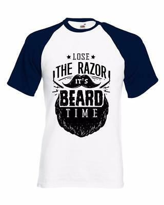 Humorvoll Bnwt Lose The Razor Its Beard Time Funny Non Shaver Gift Baseball Shirt S-xxl Exquisite Traditionelle Stickkunst