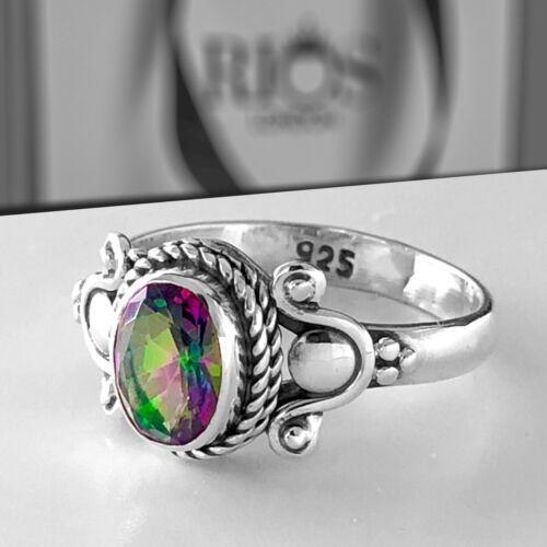 Smart Místico Fuego Topaz 925 Sterling Silver Anillo De Piedras Preciosas De Corte De Faceta Caja De Regalo